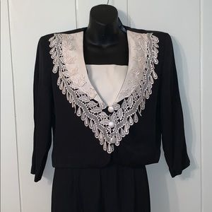 Vtg 80s does 40s 2 pc outfit with lace top